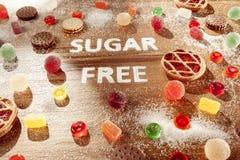 Торты сахара свободные еда диетпитания Взгляд сверху принципиальная схема здоровая стоковое изображение rf