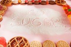 Торты сахара свободные еда диетпитания Взгляд сверху принципиальная схема здоровая стоковое изображение