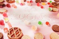 Торты сахара свободные еда диетпитания Взгляд сверху принципиальная схема здоровая стоковая фотография