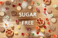 Торты сахара свободные еда диетпитания Взгляд сверху принципиальная схема здоровая стоковые фотографии rf