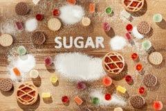 Торты сахара свободные еда диетпитания Взгляд сверху принципиальная схема здоровая стоковое фото