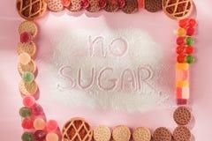 Торты сахара свободные еда диетпитания Взгляд сверху принципиальная схема здоровая стоковые изображения