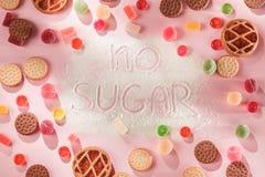 Торты сахара свободные еда диетпитания Взгляд сверху принципиальная схема здоровая стоковые фото