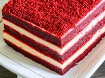 Торт бархата конца-вверх красный Стоковые Изображения