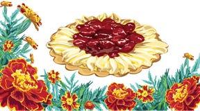 Торт вишни ноготк цветков рамки Стоковые Изображения