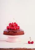 Торт вишни шоколада Селективный фокус Стоковые Изображения