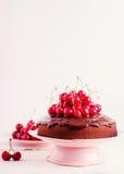 Торт вишни шоколада Селективный фокус Стоковое Фото