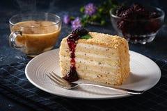 Торт в плите с вилкой стоковые фотографии rf