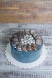 Торт галактики плавленого сыра с печеньями и marmelade шоколада Стоковая Фотография RF