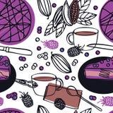 Торт голубики vegan собрания еды очень вкусный сырцовый с картиной бобов кака ежевик безшовной Стоковое Фото