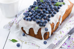 Торт голубики с замороженностью сахара Стоковая Фотография