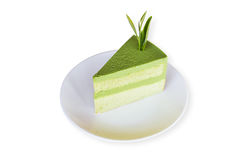 Торт губки зеленого чая Matcha изолированный на белой предпосылке сохранено Стоковая Фотография RF