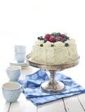 Торт губки с взбитыми cream и свежими ягодами Стоковые Изображения
