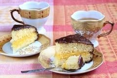 Торт губки с поливой сливк и шоколада лимона Стоковое фото RF
