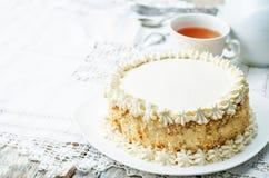 Торт губки с сливк масла Стоковые Изображения