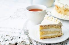 Торт губки с сливк масла Стоковое Изображение