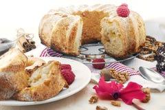 Торт губки с яблоком, поленикой и циннамоном Селективный фокус Стоковые Фотографии RF