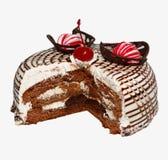 Торт губки шоколада с чувствительным кофе взбил сливк, шоколад, карамельку, сконденсированное молоко белизна изолированная предпо Стоковое Изображение