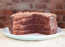 Торт губки шоколада с buttercream шоколада Стоковые Фотографии RF