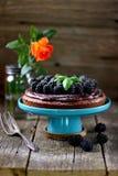 Торт десерта с печеньем гайки, помадкой шоколада и свежими ежевиками Стоковая Фотография RF