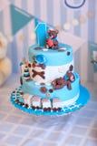 Торт для торжества дня рождения один год Стоковые Фото
