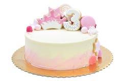 Торт для третьего дня рождения Стоковое фото RF
