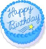 торт дня рождения голубой Стоковая Фотография