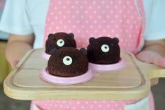 Торт домодельного шоколада головы ` s плюшевого медвежонка Брайна шифоновый Стоковые Фотографии RF