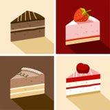 Торт, десерт, шоколад, клубника, вишня, часть, цвет, плоский Стоковая Фотография