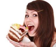 торт есть часть девушки Стоковое Фото