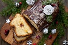 Торт журнала yule шоколада рождества стоковые фото