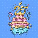 Торт изверга для 25th годовщины Иллюстрация шаржа в шуточном ультрамодном стиле иллюстрация штока