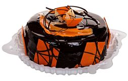 Торт изолированный на белой предпосылке Торт с шоколадом, плодоовощ и сливк Стоковая Фотография RF