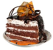 Торт изолированный на белой предпосылке Торт с шоколадом, плодоовощ и сливк Стоковые Фото