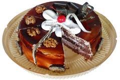 Торт изолированный на белой предпосылке Торт с шоколадом, плодоовощ и сливк Стоковая Фотография