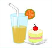 Торт и апельсиновый сок иллюстрация штока