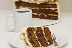 Торт и кофе моркови Стоковая Фотография