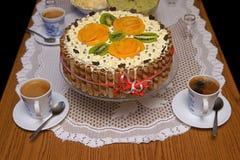 Торт и кофе Стоковая Фотография