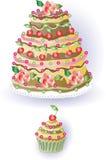 Торт и пирожное с вишней Стоковая Фотография