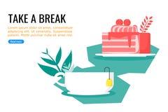 Торт и теплый сладкий чай бесплатно приурочивают иллюстрация вектора