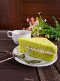 Торт, кофе и торт зеленого чая Таиланда Matcha Стоковое Изображение
