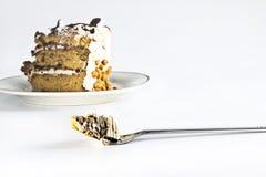 Торт кофе с вилкой Стоковые Фото