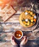 Торт меда на рождестве Стоковая Фотография