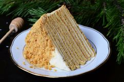Торт меда с сметаной стоковое фото rf