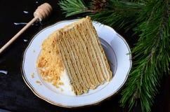 Торт меда с сметаной стоковые фотографии rf