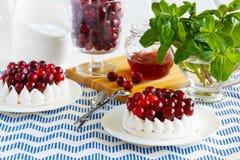 Торт меренги с сливк и клюквами Сладостный десерт с ягодой Стоковое фото RF