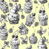 Торт милой безшовной картины сладостный Иллюстрация вектора