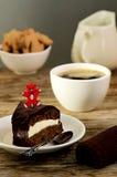 Торт моркови с выбором кофе и плюшевого медвежонка Стоковые Фото