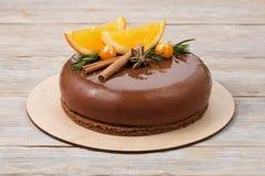 Торт мусса шоколада с апельсинами Стоковое Фото