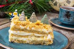 Торт Наполеона на рождество и Новый Год Стоковая Фотография